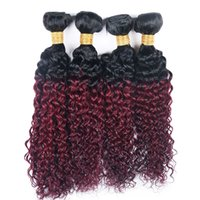 Wholesale curly two tone hair extensions - Kinky Curly 4 Bundles T 1B 99J Ombre Dark Wine Red Two Tone Color Cheap Brazilian Virgin Human Hair Weave 4 Bundles Extension