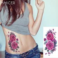 tattoo flash indisch großhandel-1 stück Indian Arabisch Gefälschte temporäre flash henna tattoo aufkleber lila rose blumen arm schulter bein tattoo wasserdichte frauen