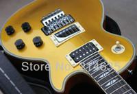 trémolo puente cromo al por mayor-Custom Axcess Alex Lifeson Small Sparkle Gold Top Goldtop Guitarra eléctrica Split Diamond Inlay, Floyd Rose Tremolo Bridge, Chrome Hardware