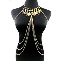 largo collar de cadena sexy al por mayor-2018 Nuevo Punk Leaf Tassel Sexy Gold Long Charms Collares de CadenaPendientes Boho Chic Body Collar Mujeres Declaración Beach Jewelry