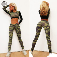 Wholesale Wholesale Women S Workout Clothes - Wholesale-YEL New Camo Splice Sport Fitness Tights Sports Suits Gym Running Workout Clothes Women's Tracksuit For Lady Yoga Set