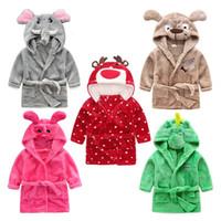baby schöne pyjamas groihandel-Kinder Flanell Bademantel Cartoon Schöne Tierkopf Haus Kleidung Super Soft Baby Pyjamas Hohe Qualität 27xs Ww
