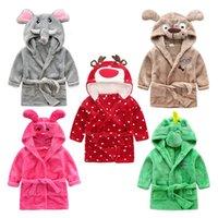 bebek güzel pijama toptan satış-Çocuk Flanel Bornoz Karikatür Güzel Hayvan Kafası Ev Giyim Süper Yumuşak Bebek Pijama Yüksek Kalite 27xs Ww