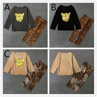 Wholesale Leopard Outfits For Babies - Girls fashion Shiny Leopard Print legging 2pc suits long sleeve T shirt Trousers baby girls cotton Casual Outfits 3colors 5 sizes for 3-6T