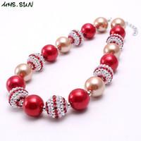 rote perlen für halskette großhandel-Großhandelsrot + Goldfarbe Kind Chunky Halskette Schmuck Neueste Weihnachtsgeschenk Bubblegum Perlen Chunky Halskette Für Kinder Mädchen