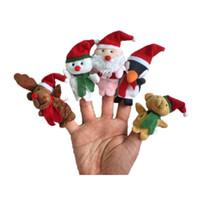 batteriebetriebene weihnachtsspielzeug großhandel-Weihnachtsfinger-Marionetten-Plüsch spielt Karikatur Weihnachtsmann-Schneemann-Handmarionette-nette Weihnachtsrotwild füllte gute Qualität der Tiere an