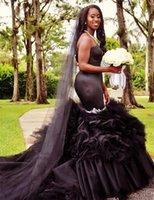 bescheidene gothic kleider großhandel-Modest Rüschen Meerjungfrau Schwarz Gothic Brautkleider Schatz Schulterfrei Perlen Kristall Lange Brautkleid Vestidos De Noiva
