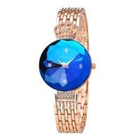 cristal azul cuarzo al por mayor-LFT320065 Relojes de mujer Reloj de mujer Reloj de pulsera de corona superior de moda Reloj de pulsera para mujer Relojes de cuarzo de cristal azul dorado femenino LFT219
