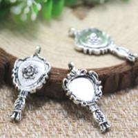 ingrosso antico specchio-20pcs / lot specchio a forma di rosa Charms, ciondoli in argento tibetano anticato specchio pendenti 29x14mm