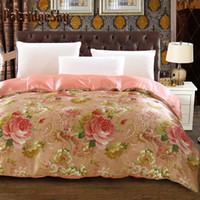 Wholesale oil painting style duvet cover resale online - PatridgeSky PC Faux Silk Chinese Peony Oil Painting Style Luxury Bedding Set Duvet Cover Set Bed linen Queen Girl Pink