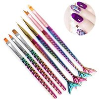Wholesale uv gel acrylic nails - 1Pcs Mermaid Handle Nail Brush Nail Liner Painting Drawing Flower Pen Gradient UV Gel Acrylic Manicure Nail Art Tool Accessories