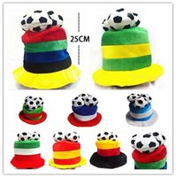 Wholesale party ball props online - Football World Cup Plush Hat Soccer Ball Russia Italy National Flag Hat Cheerleading Team Props Headwear OOA4833