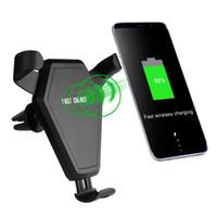 ingrosso caricabatterie-Veloce Qi Wireless Charger Car Mount Supporto del telefono Gravità Reazione per iPhone 8 Plus X Samsung Galaxy S6 S7 S8 Plus 20pcs