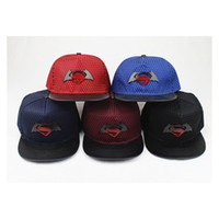boné de sol superman venda por atacado-Batman Wars Superman Gradiente S Padrão de Ferro Hip Hop Plana Na Moda Sol Proteção Chapéu de Beisebol
