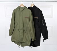 Wholesale American Army Jackets - Europe American Tooling Military Style Men's Army Green Hooded Jacket Long Trench Jacket Coat Asymmetric Dovetail Jacket Free Shipping