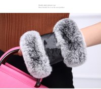 Wholesale C Gloves - NEW with logo C real leather Open finger gloves with Rabbit hair black gloves good quality no gift box (Anita)