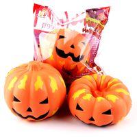Wholesale Pumpkin Ornament - Slow Rising PU Smiling Face Halloween Pumpkins Squishy Charm Mobile Phone Strap Key Chain Bag Ornaments Kids Toys