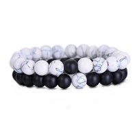 yang mode großhandel-Mode Paare Distanz Armband Klassische Stein Weiß und Schwarz Yin Yang Perlen Armbänder für Männer Frauen Beste Freund 2 TEILE / SATZ