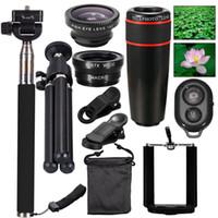 Wholesale Monopod Case - New 10in1Mini phone Lens Kit 12x Telephoto Lens+Fish Eye Lens+Wide Angle+Macro Lens Selfie Stick Monopod+Remote Control+Tripod with Case