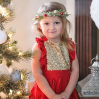 Wholesale Christmas Dress European and American hot sales INS NEW ARRIVAL Girls Kids fly Sleeve Sweet Sequin pure color colors