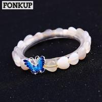 ingrosso farfalla bianca d'argento-Forkup Moonstone Braccialetti White Crystal Pulseira Ethnic Women Wedding Jewelry Accessori trasparenti 925 Silver Butterfly Rope