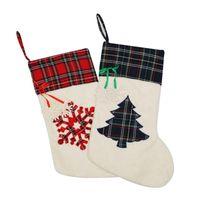 Wholesale new party decoration stock online - New Creative Christmas Gift Socks Snowflake Tree Print Polyester Fiber Snowflakes Plush Christmas Stocking Large Capacity Hot Sale fg aa