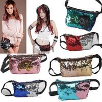 Wholesale Wholesale Glitter Belts - Women Mermaid Sequins Glitter Waist Bag Travel Pack Glitter Fanny Pack Belt Bag Hip Purse 11 Styles 100pcs OOA3852