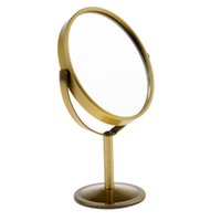 двойное боковое зеркало оптовых-3in Mini Dual Side Normal Magnifying Oval Stand  Table Mirror Desktop revolving Round / Oval double sided mirror
