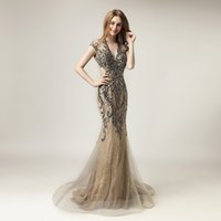 Wholesale unique shine - Real Image 100% 2018 Unique Shining Crystal Evening Dresses Luxury Women Fashion Tulle Dress Long V-Neck Gala Party Gowns OL430