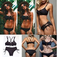 Wholesale women swimsuits large - Black Hollow Out Bandage Bikini Women Braided Rope Hollow Swimsuits Bodysuits Romper 2 Pieces Bikini Swimwear AAA346