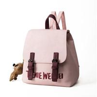 mochila de oso rosa al por mayor-2018 Niñas Mochila Con Oso Pequeño Decoración Moda Mujeres Mochilas escolares PU Mochila de compras Diariamente Bolsas de moda Rosa Negro Gris Colores