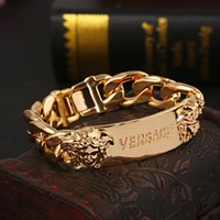 Wholesale heads hearts - brand Charm Bracelets with women Head Pendant Gold Punk style Couple Bracelets Stainless Steel Bracelets For Women Men Jewelry