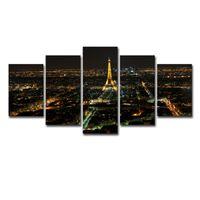 construir torre eiffel al por mayor-Fotos de lienzo Arte de la pared Impresiones en HD Carteles de 5 piezas Torre Eiffel de París Edificio de la ciudad Nightscape Pinturas Decoración del hogar Marco