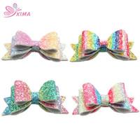 ingrosso acrylic bow beads-XIMA 8pcs / lot arcobaleno 3inch arco capelli clip di capelli glitter arco ragazze principessa hairgrips per bambini forcine accessori