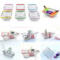 Wholesale pretend play kids - Mini Supermarket Shopping Hand Basket Kids Toy Pretend Play Home Decor Desktop Cosmetic Sundries Organizer Iron Storage Basket FFA406