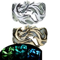 Wholesale ancient african jewelry - Glow in the Dark Ring Ancient Silver Bornze Fluorescent Light Dragon Ring Band Rings Fashion Jewelry for Women Men Drop Shipping