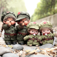 Wholesale plush couple doll - Monkiki Dolls PLA Couple Lovers Plush Dolls Army Uniform His-and-hers Kawaii Monchichi Stuffed Toys Valentines Gift
