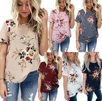 t-shirt blumen kurzarm großhandel-Frauen Blumendruck T-shirt 6 Farben Casual Tops Tees Kurzarm O Neck Bluse T OOA5407