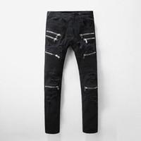 Wholesale jeans large hip hop - Autumn Men Slim Black Biker Jeans Casual Patchwork Ripped Stretch Hip Hop Denim Pants Skinny Long Trousers Large Size 28-42