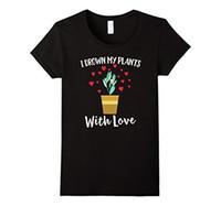 ingrosso buon giardinaggio-Maglietta da donna I Drown My Plants With Love Maglietta da giardinaggio Cute Herbs Maglietta di buona qualità Brand Maglietta da donna Cotton Top Funny 100% Cotton