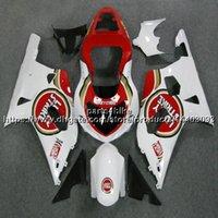motocicletas gsxr plásticos venda por atacado-5Gifts + Personalizado ABS vermelho branco Carenagem Para Suzuki GSX-R600750 2001 2002 2003 GSXR 600 R750 K1 kit de plástico da motocicleta