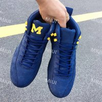 Wholesale womens neoprene tops - 2018 New Jumpman XII 12 Michigan Blue Yellow Basketball Shoes 12s Sports Shoes Mens Athletics Top Quality Womens Sneaker Size 36-47