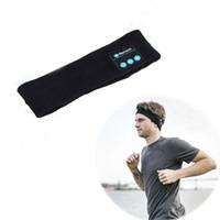 Wholesale Usb Sleep - Wireless Bluetooth Headphone Knitting Music Headband Headset w  Mic for iphone7 8 Running Yoga Gym Sleep Sports Earphone