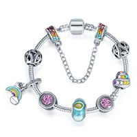 ingrosso fascini europei del rainbow-Braccialetti pandora europei di fascino di serie dell'arcobaleno per le donne 925 braccialetti chain d'argento dei braccialetti gioielli di DIY con il logo su ordinazione