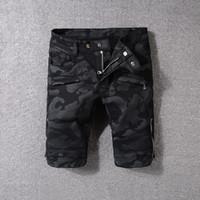 Wholesale jeans style for short men - Men Camo Biker jeans shorts Black camouflage Slim Fit Motorcycle Biker Denim For Men Brand Designer Hip Hop Mens jeans shorts 1810