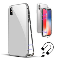 Wholesale aluminum metal bumper case - Built-in Magnet Case for iPhone X 8 7 Plus Clear Tempered Glass Back Cover Magnetic AluminumMetal Adsorption Bumper Ultra-slim Full Cover