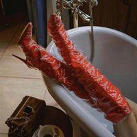 женские ботинки высокого качества pvc оптовых-ПВХ + эластичная ткань женская на высоком каблуке длинные сапоги острым носом колено высокие сапоги взлетно-посадочной полосы Моды партия свадебные туфли красный черный плед насосы