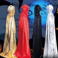 gümüş renkli siyah pelerinler toptan satış-Cadı Pelerin Şapka ile Erkekler Cadılar Bayramı Cosplay Kostüm Pelerin Altın Gümüş Siyah Kırmızı