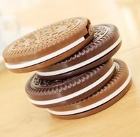 Wholesale cookie compact mirror resale online - Fashion Cocoa Cookies Mirror Makeup Mirrors with Comb Unique Cheap Sandwich Cooke Compact Mirrors Women Makeup Accessories Tools