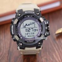 большие цифровые часы оптовых-Большой циферблат цифровой водонепроницаемый LED мужской шок наручные часы мужчины PRW Спорт электронный хронограф наручные часы ga 100 110 мужские G часы